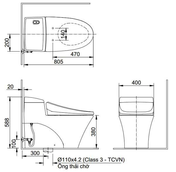 Bồn cầu Inax AC-1008VRN 1 khối xả nhấn