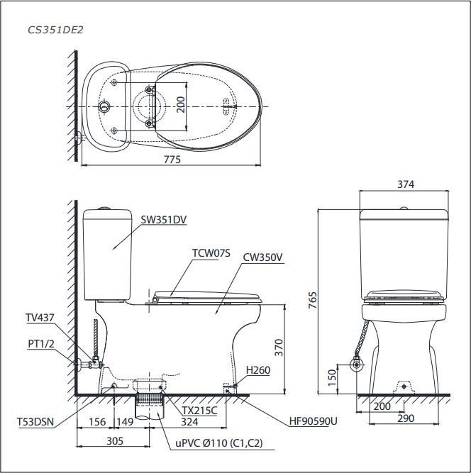Bàn cầu 2 khối ToTo CS351DE2 (Nắp Eco-washer TCW07S)
