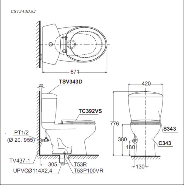 Bàn cầu TOTO 2 khối CST343DS3 (Made in Viet Nam)